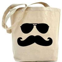 Mustache Man with Sun glasses tote bag by PaisleyMagic on Etsy