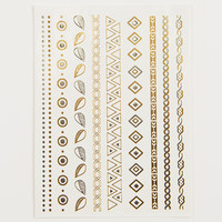 Metallic Temporary Tattoos - Triangles and Leaves - Silver/Gold / One