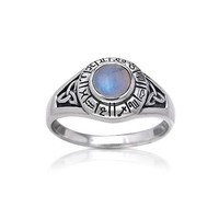 Zodiac Wheel Astrological Symbols Sterling Silver Celtic Knot and Rainbow Moonstone Ring(Sizes 4,5,6,7,8,9,10,11)