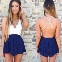 Lace Top Romper - Navy