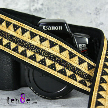 Gold Tribal Camera Strap dSLR or SLR, Southwestern, Canon Strap, Nikon, Camera Neck Strap, Pocket, Gold, Black, Aztec, African, 200 w