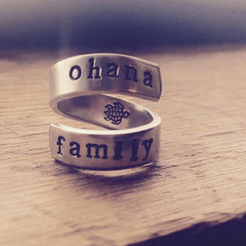 ohana family  aluminum ring turtle inside