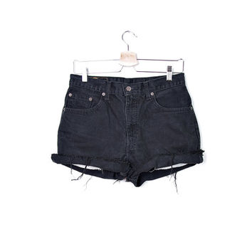 80s LEVI'S 504 Made in Australia. Cutoffs Cuffed Shorts. Black Distressed Denim. High Waisted. Zip fly. W32