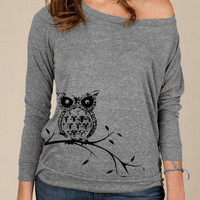 OWL tree branch Heathered Slouchy Pullover long by LittleAtoms