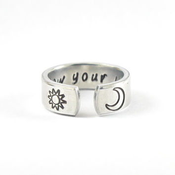Follow Your Bliss Ring, Joseph Campbell Quote Ring, Words Of Wisdom Inspirational Jewelry, Hand Stamped Aluminum Ring