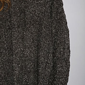 casual class braided sweater - charcoal