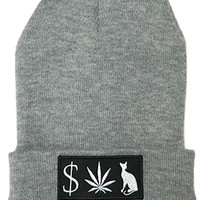 MONEY WEED PUSSY CAT Beanie in Heather