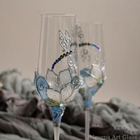 CRYSTAL GLASSES, Wedding Glasses, Champagne Flutes, Wine Glasses, Hand Painted DragonFly, Aqua Blue, Set of 2