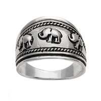 Silver Plated Elephant Ring