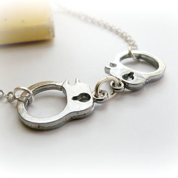 Handcuff sterling silver necklace with silver plated chain and clasp