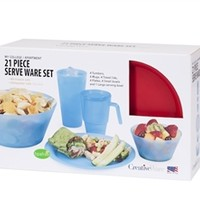 21 Piece Complete Dorm Eating Set Cool Items For College Students Must Have Dorm Stuff Quick Dorm Meals Accessories