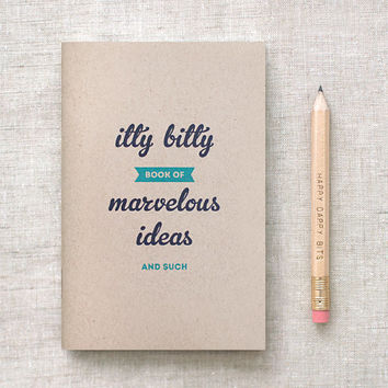 Journal & Pencil Set - Itty Bitty Book of Marvelous Ideas and Such - Stocking Stuffer