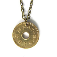 Coin Necklace Authentic Upcycled Japanese 5 Yen Pendant Jewelry by Hendywood