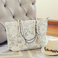 Lace & Chambray Tote