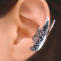 925. Large Guardian Angel Wings  - Sterling Silver ear cuff earring, Non pierced earcuff jewelry 062213