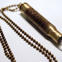 Crystal Tipped Etched Bullet Necklace in Brass by diviner on Etsy
