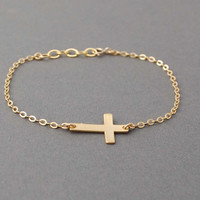 Gold Sideways Cross Bracelet Horizontal by jennijewel on Etsy