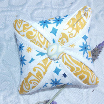 Lavender Scented Pincushion Sachet Cathedral Window Mini Pillow