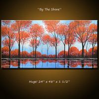Amy Giacomelli Wall Art Landscape Original Painting Modern Contemporary Trees ... 48 x 24 ... By the Shore