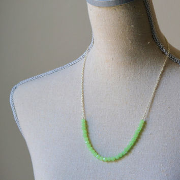 Mint Green Necklace - Faceted Glass Beads - Ready to Ship