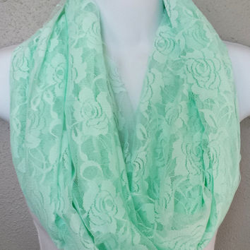 Romantic Pastel Mint Lace Infinity Scarf Stretchy Soft Scarf with Lace Roses Womens Fashion Infinity Scarves Girls Pastel Green Spring Scarf