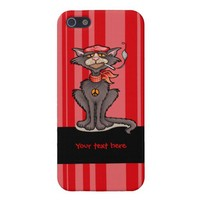 Cool Cat with Peace Sign iPhone 5 Cases from Zazzle.com