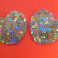 Disco silver heart sequin pasties