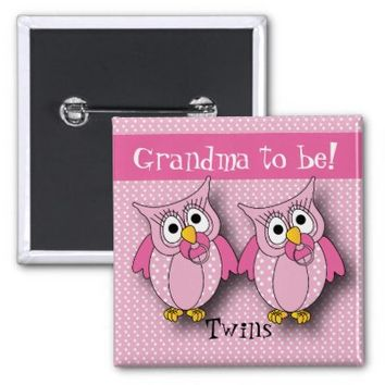 Pink Polka Dot Twin Owls   Grandma to be 2 Inch Square Button