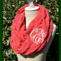 Infinity Monogrammed Knit Scarf - Personalized Circle Script Women's Monogram Initials Super Soft Neck Cowl Scarf Circular