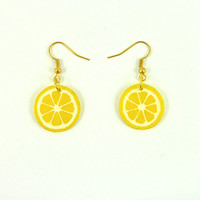 Gourmand CD recycled Earrings : Yellow lemon slices - by Savousepate
