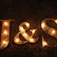 "14"" Rusted metal letter, light, distressed, wedding, vintage chic, decor"