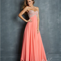 Night Moves by Allure : Coral Chiffon & Embroidered Jeweled Bodice Prom Dress Prom 2015