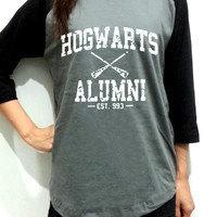 Hogwarts Alumni Harry Potter Unisex Men Women Dark Gray Long Sleeve Baseball Shirt Tshirt Jersey