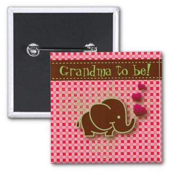 Bright Pink & Brown Baby Elephant   Grandma to be 2 Inch Square Button