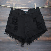 high waisted shorts - distressed black