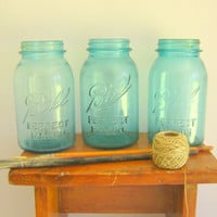 Antique Ball Perfect Mason Jars Blue by RollingHillsVintage
