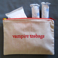 """Indiscreet """"vampire teabags"""" Zip Pouch for Tampons, Menstrual Pads, Feminine Products"""