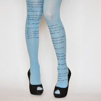 EMILY DICKINSON Poem Printed Tights,Poetry Fashion Tights, Renaissance Literary tattoo tights
