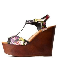 Black Multi Bamboo Floral T-Strap Wooden Wedges by Charlotte Russe
