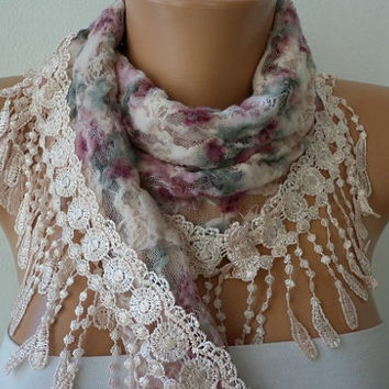 Multicolor Scarf  -  Cowl with Lace Edge   Gift for Her