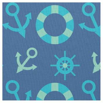 Nautical Pattern Fabric | Blue Anchor And Wheel