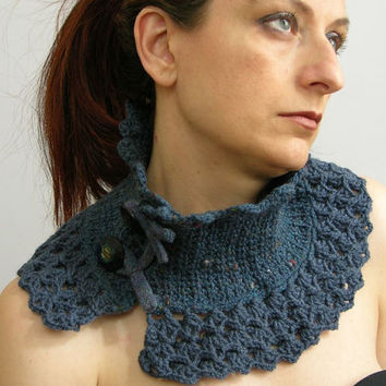 capelet  cowl  neck warmer  scarflette  mottled deep by piabarile