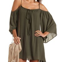 Olive Cold Shoulder Tie-Neck Trapeze Dress by Charlotte Russe