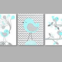 Grey and Aqua Birds, Complements Sweet Jojo Zig Zag Turquoise bedding, Grey Aqua Bird Nursery, Girl Nursery, INSTANT DOWNLOAD DIGITAL File