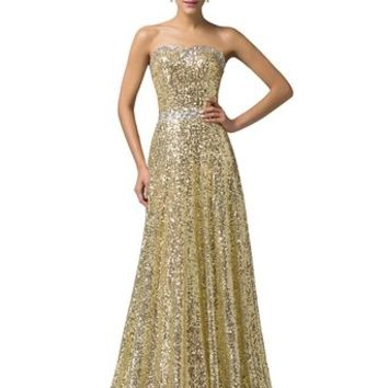 Grace Karin® Brilliant Golden Sequins Gown Dresses with Beadings CL6103