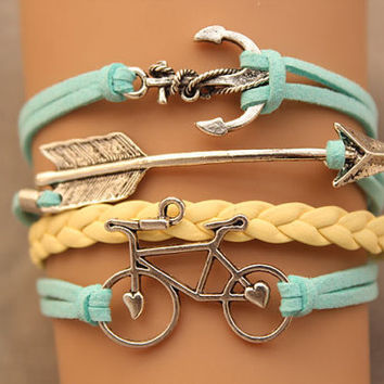 arrow bracelet anchor bracelet &love bike bracelet antique silver pendant,green rope and yellow braid bracelet(AB069)