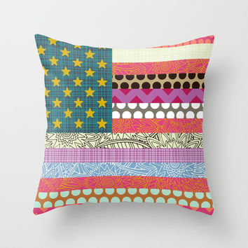 US Beauty flag Throw Pillow by Sharon Turner | Society6