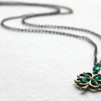 Four Leaf Clover Pendant, Irish Shamrock for Good Luck, Green Crystal Necklace, Celebrate St. Patrick's Day