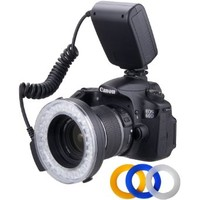 Polaroid 48 Macro LED Ring Flash & Light Includes 4 Diffusers (Clear, Warming, Blue, White) For The Canon Digital EOS Rebel SL1 (100D), T5i (700D), T5 (1200D), T4i (650D), T3 (1100D), T3i (600D), T1i (500D), T2i (550D), XSI (450D), XS (1000D), XTI (400D),