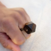 Ring Chunky Faceted Wood Magnus by artspell on Etsy